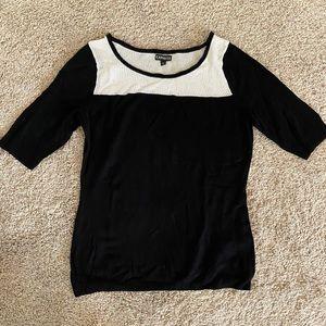 Express Black & White Mesh Soft Sweater 3/4 Sleeve